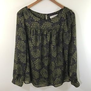 Ann Taylor LOFT Floral Green and Brown Blouse